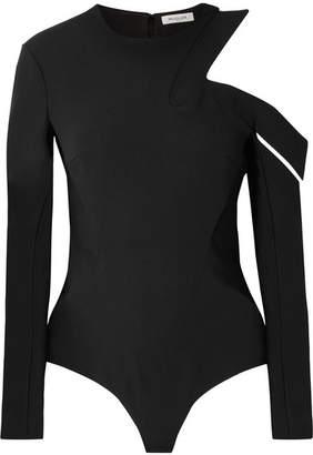 Thierry Mugler Cutout Crepe Thong Bodysuit - Black