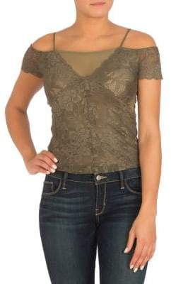 GUESS Cia Lace Cold-Shoulder Top