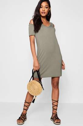 boohoo Basic V Neck Cold Shoulder Swing Dress