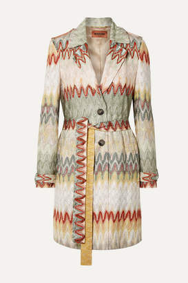 Missoni Belted Crochet-knit Trench Coat - Neutral