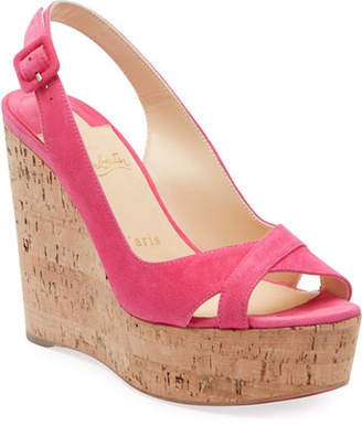 Christian Louboutin Reine de Liege Suede Red Sole Wedge Sandals