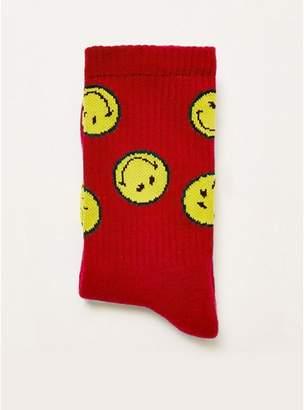 Topman Mens Red Smiley Tube Socks