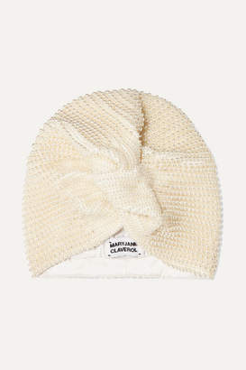 MaryJane Claverol - Frankie Faux Pearl-embellished Stretch-crepe Turban - White