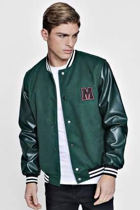 boohoo M Badge Faux Leather Sleeve Varsity Jacket