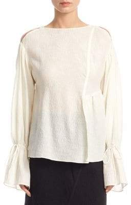 3.1 Phillip Lim Women's Cold-Shoulder Bell-Sleeve Top - Antique White - Size 8