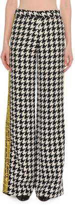 Off-White Wide-Leg Houndstooth Wool-Blend Pants