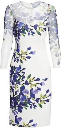 Teri Jon By Rickie Freeman Floral Three-Quarter Sleeve Scuba Dress