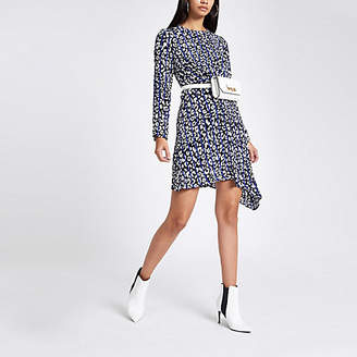 River Island Womens Blue leopard print cross front midi dress
