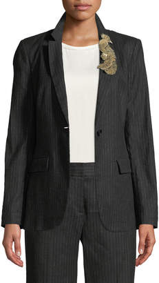 Kobi Halperin Revi Pinstripe Jacket with Bird Embellishment
