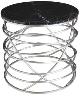 Emerald Home Amherst Black Marble End Table with Metal Base And Marble Top
