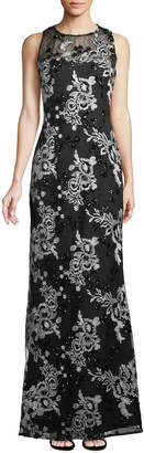 Karl Lagerfeld Paris Contrast Lace Illusion Gown