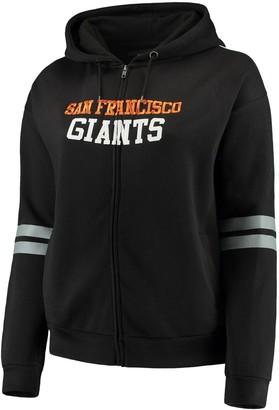 Unbranded Women's Soft As A Grape Black San Francisco Giants Curvy Bio-Washed Full-Zip Plus Size Hoodie