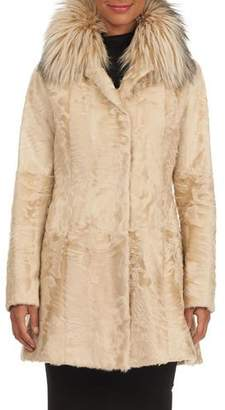Zac Posen Fox-Fur Collar Lamb Stroller Jacket