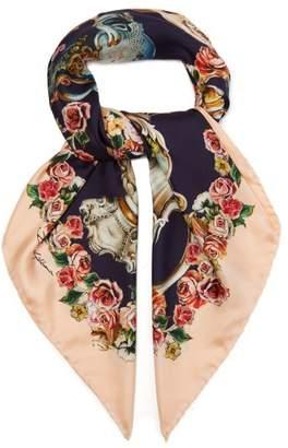 Dolce & Gabbana Cherub Print Silk Twill Scarf - Womens - Navy