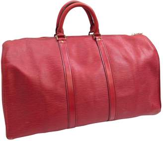 Louis Vuitton Vintage Keepall Red Leather Travel Bag