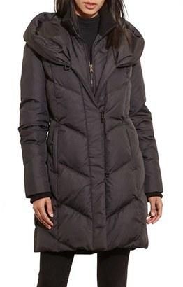 Women's Lauren Ralph Lauren Quilted Hooded Coat With Knit Trim $300 thestylecure.com