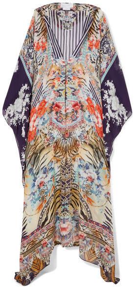 Ruffled Printed Silk Crepe De Chine Robe - Black