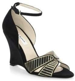 LK Bennett Buckled Velvet Wedge Sandals