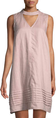 Neiman Marcus Choker-Neck Linen Shift Dress