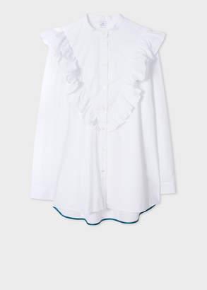 Paul Smith Women's White Stretch-Cotton Band-Collar Shirt With Ruffle