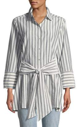 Go Silk Striped Tie-Front Silk-Blend Shirt, Plus Size