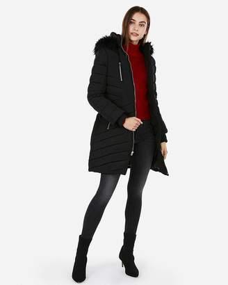 Express Long Belted Puffer Coat