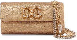 Dolce & Gabbana Dorina Embellished Metallic Jacquard Shoulder Bag - Gold