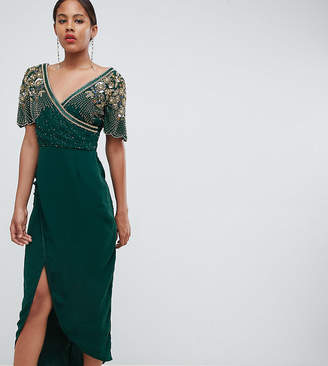Virgos Lounge Tall julisa embellished wrap midi dress in emerald green