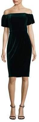 Betsy & Adam Off-the-Shoulder Velvet Sheath Dress