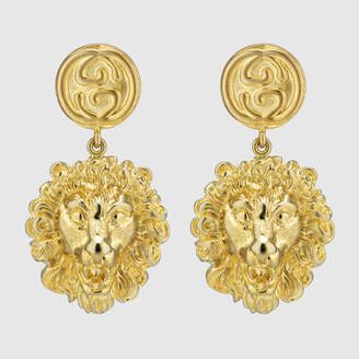 Gucci Metal lion head earrings