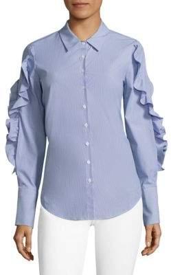 Crosley Striped Lace-Up Ruffled Poplin Shirt