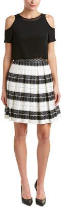 Karen Millen Pleated Silk & Linen-Trim A-Line Dress