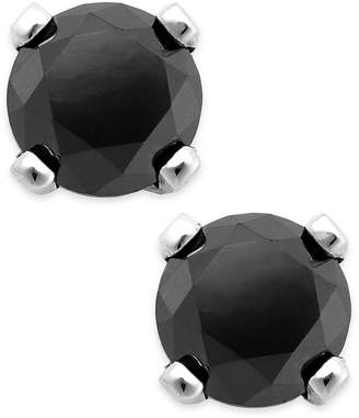 Macy's Black Diamond Round Stud Earrings in 10k White Gold (1/3 ct. t.w.)