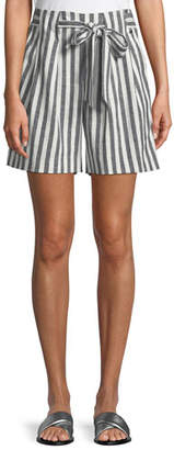 St. John Striped Linen Twill Tie-Front Shorts