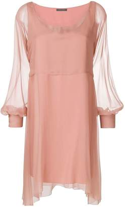Alberta Ferretti chiffon mini cape dress