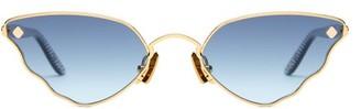 Atelier Moy Little Ripple Cat Eye 18kt Gold Plated Sunglasses - Womens - Gold