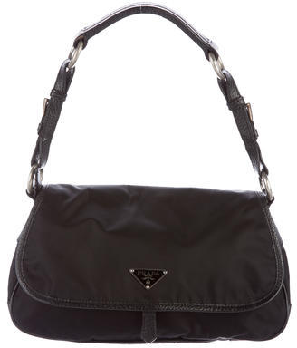 prada Prada Leather-Trimmed Tessuto Shoulder Bag