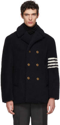 Thom Browne Navy Shearling Unconstructed Classic Peacoat