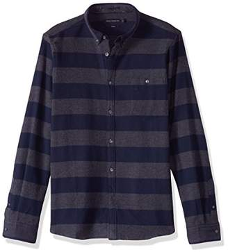 French Connection Men's Classic Flannel Slim Striped Shirt