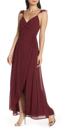LuLu*s Here's to Us High/Low Wrap Evening Dress