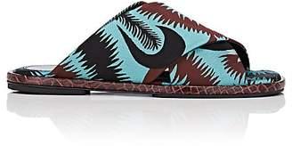 Dries Van Noten Women's Leaf-Pattern Jacquard Slide Sandals