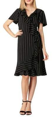 Tahari Arthur S. Levine Petite Ruffled Stripe Crepe Dress