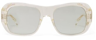 Celine Rectangular Acetate Sunglasses - Womens - Light Blue