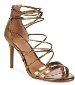 Halston Metallic Strappy Leather Sandals