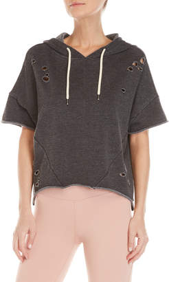 Betsey Johnson Distressed Batwing Cropped Hoodie