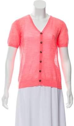 Halston Short Sleeve Button-Up Top