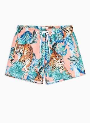 Topman Mens Pink Tiger Print Swim Shorts