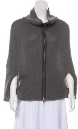 Marni Merino Wool-Blend Mock Neck Cape Grey Merino Wool-Blend Mock Neck Cape