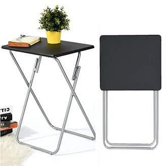 Aingoo Folding TV Trays 2 Pcs Small Snack Metal Dinner Tray Side Table Black