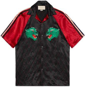 Gucci Acetate bowling shirt with panther face